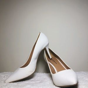 BCBGeneration Treasure Heel in White Smooth Snake.
